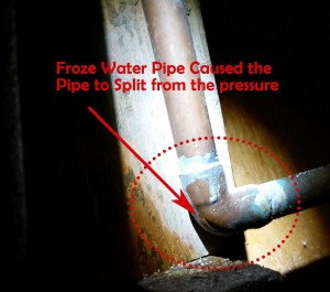 frozen and burst copper water pipe in attic